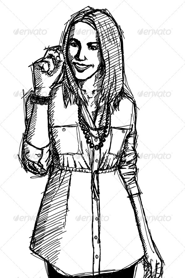 GraphicRiver Sketch Business Woman Writting Something 4017337