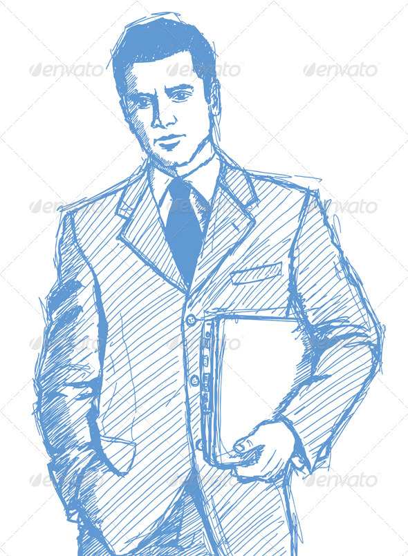 GraphicRiver Sketch Businessman With Laptop 4017348