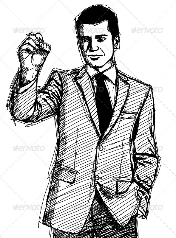 GraphicRiver Sketch Businessman Writing Something 4017350