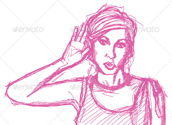 GraphicRiver Sketch Woman Overhearing Something 4017352