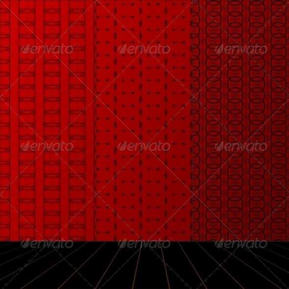 GraphicRiver Red Room with Set Seamless and Wooden Floor 4017389