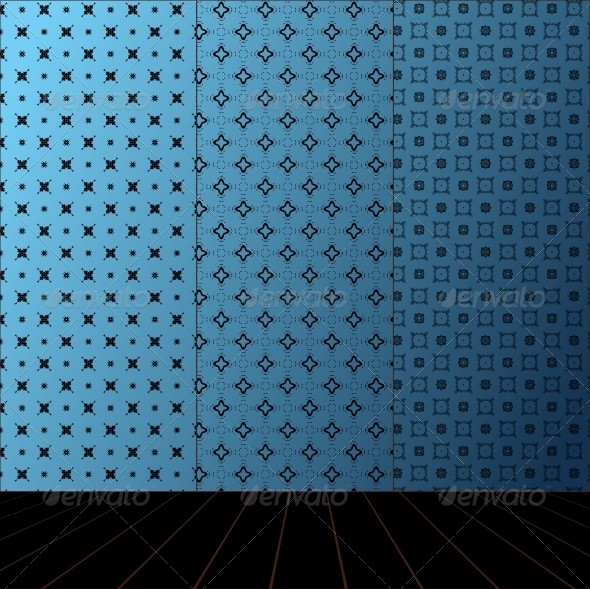 GraphicRiver Blue Room with Set Seamless and Wooden Floor 4017675