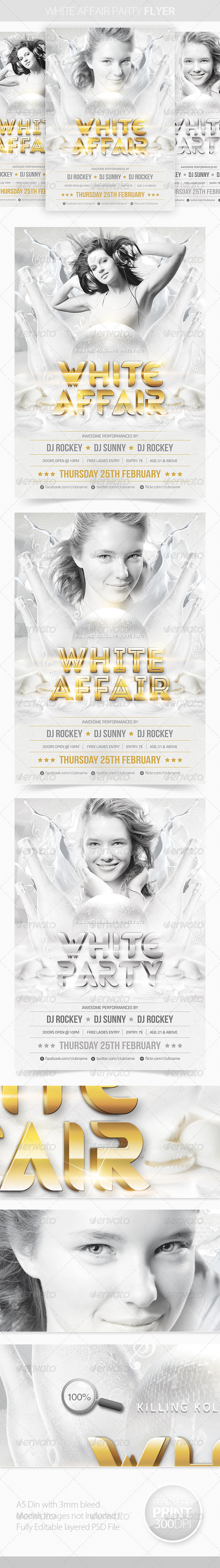 GraphicRiver White Affair Party Flyer 4017714