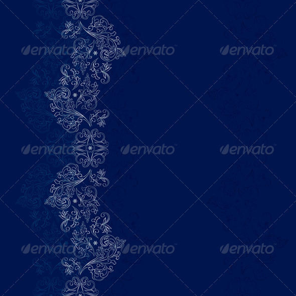 GraphicRiver Silver Floral Seamless Pattern on Blue Background 4018602
