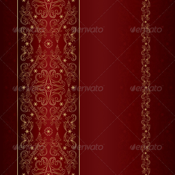 GraphicRiver Gold Floral Vintage Seamless Pattern on Red 4019176