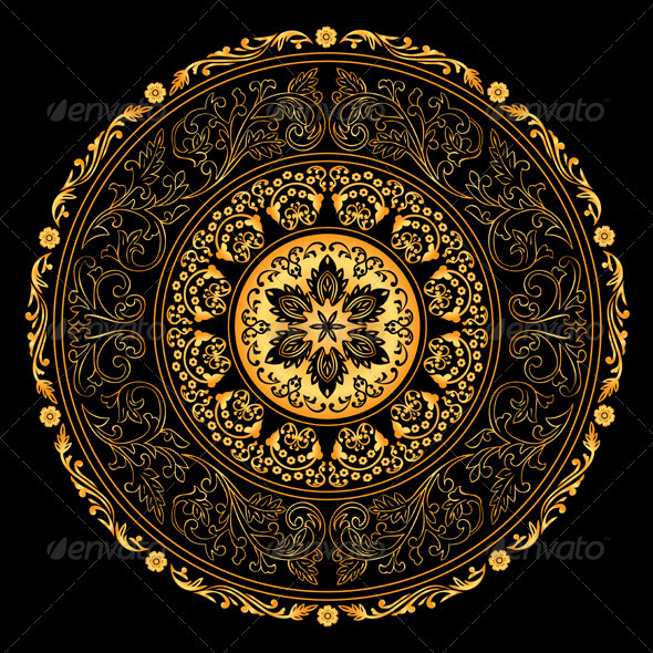 GraphicRiver Decorative Gold Frame with Vintage Round Patterns 4019206