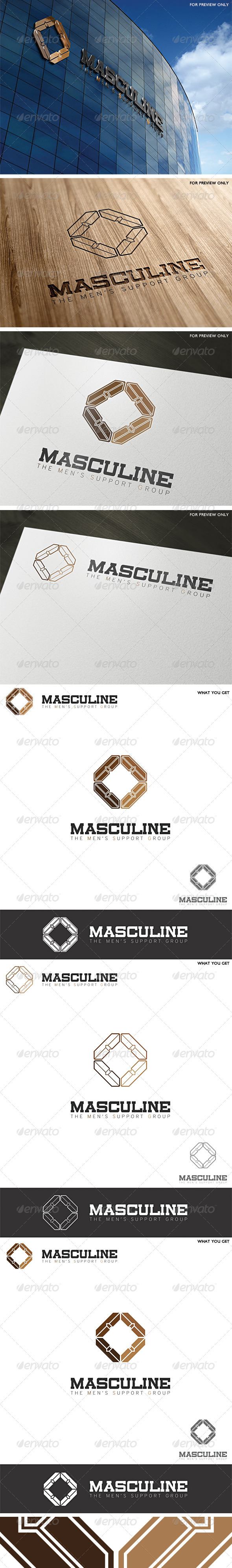 Masculine Men's Group Logo Template - Vector Abstract