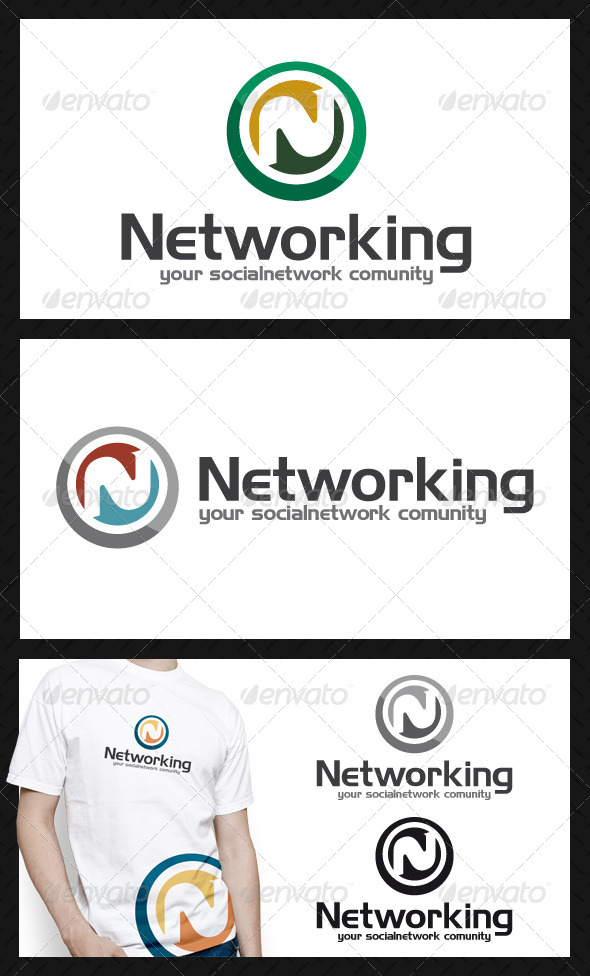 GraphicRiver Social Network Community Letter N Logo Template 3817211