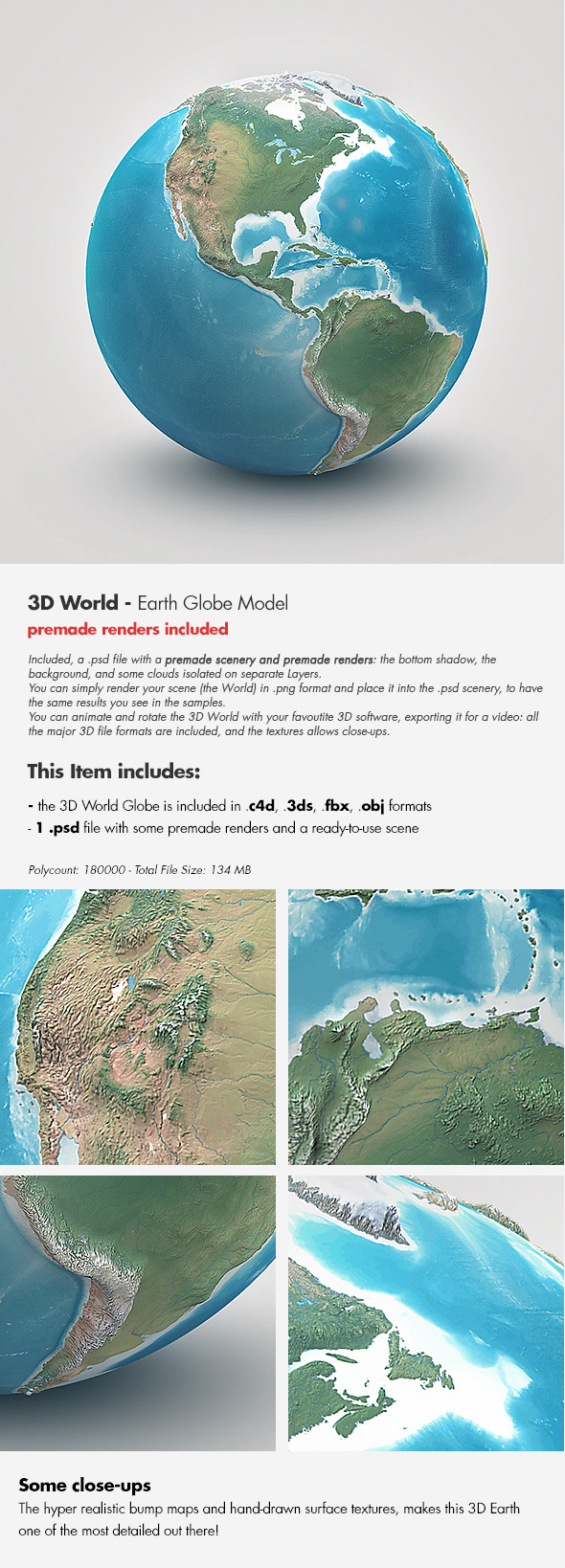 3DOcean Planet Earth Realistic 3D World Globe 4021402