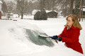 Woman Removing Snow From Car 9 - PhotoDune Item for Sale