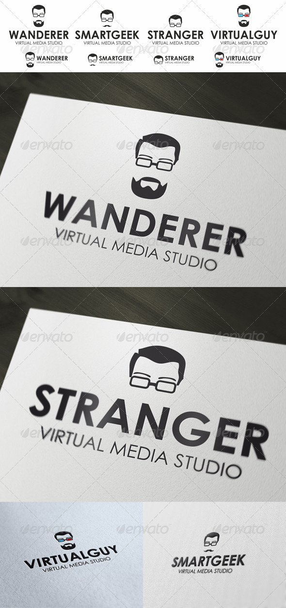 GraphicRiver Geek Logo Guy In Stylish Glasses 4021466