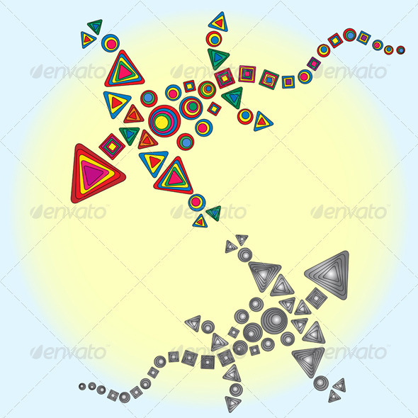 GraphicRiver Two Dragons Circling Around The Sun 4021470
