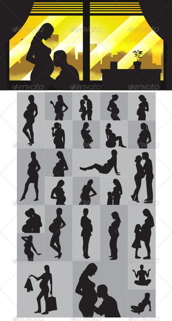 GraphicRiver Pregnant Silhouettes 4021932