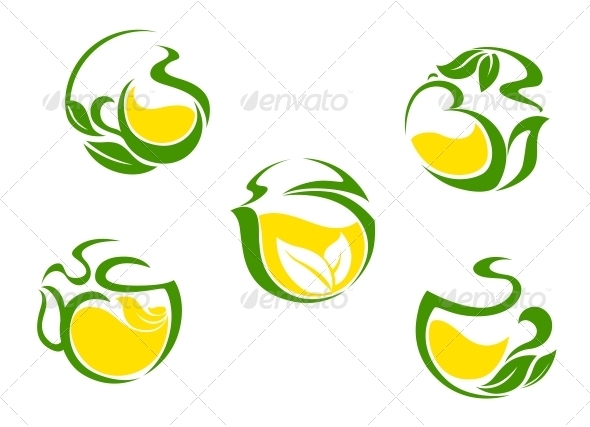 GraphicRiver Tea symbols with lemon and green leaves 4022888