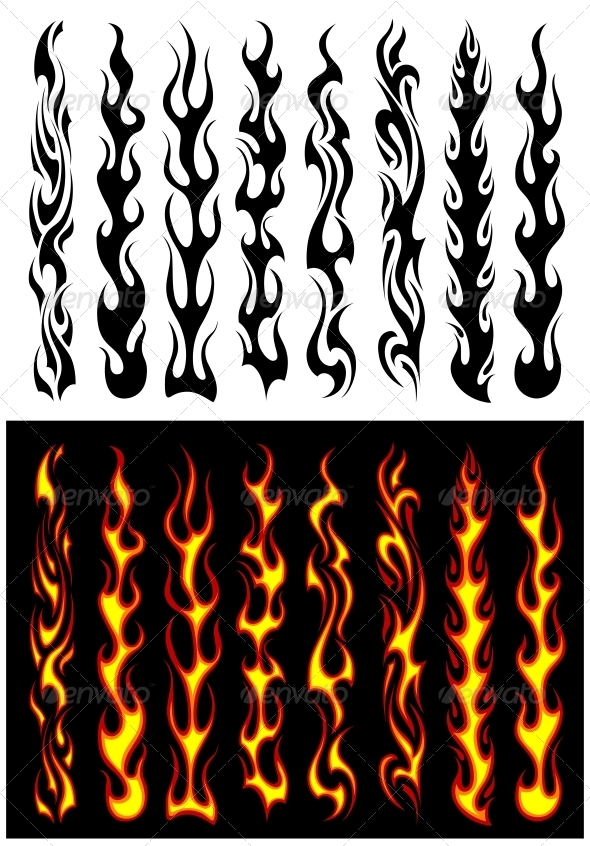 Tribal flames and elements - Tattoos Vectors
