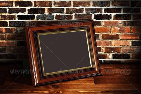 Frame on the shelf with place for photo 1 - Stock Photo - Images