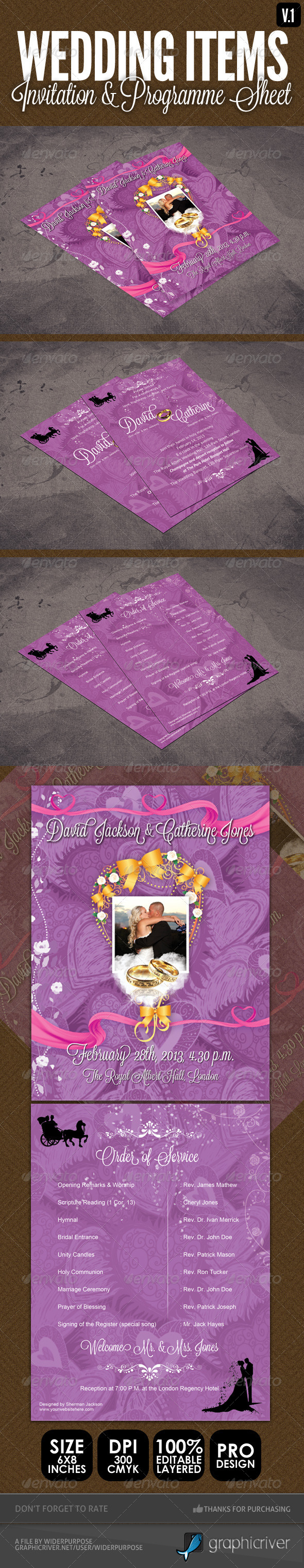 GraphicRiver Wedding Items Programme Sheet & Order of Service 4023579