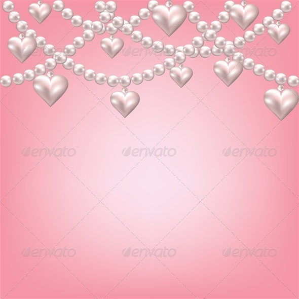 GraphicRiver Heart Pearl Necklace Pink Background 4023813