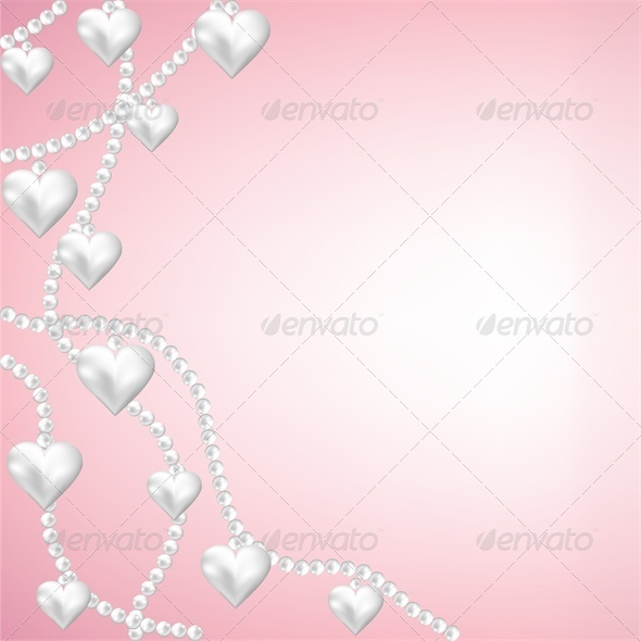 GraphicRiver Heart Pearl Necklace Pink Background 4023816