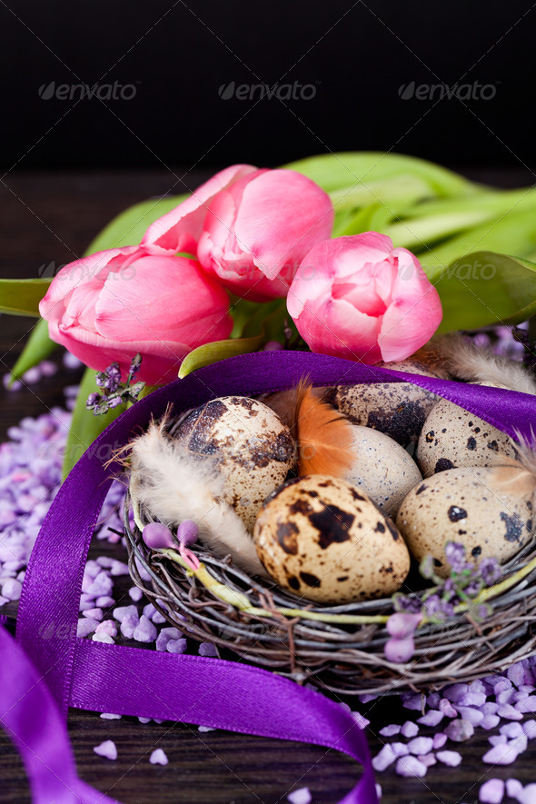 PhotoDune pink tulips and brown eggs with purple ribbon easter decoration 4024089