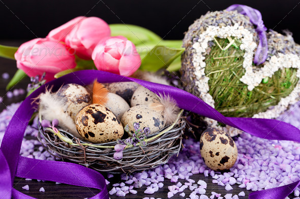 PhotoDune pink tulips and brown eggs with purple ribbon easter decoration 4024092
