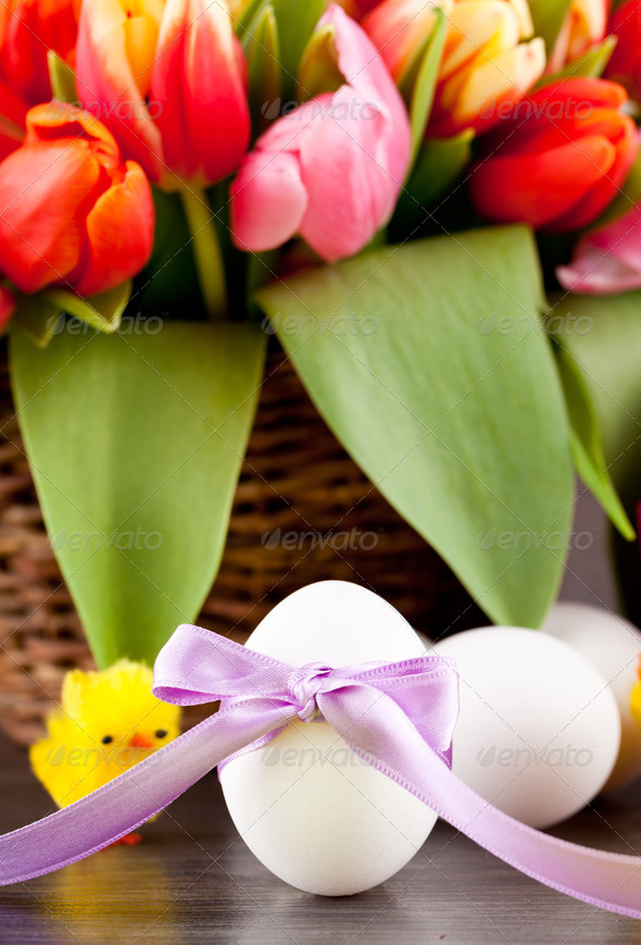 PhotoDune pink present and colorful tulips festive easter decoration 4024095