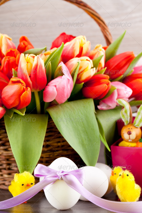 PhotoDune pink present and colorful tulips festive easter decoration 4024098