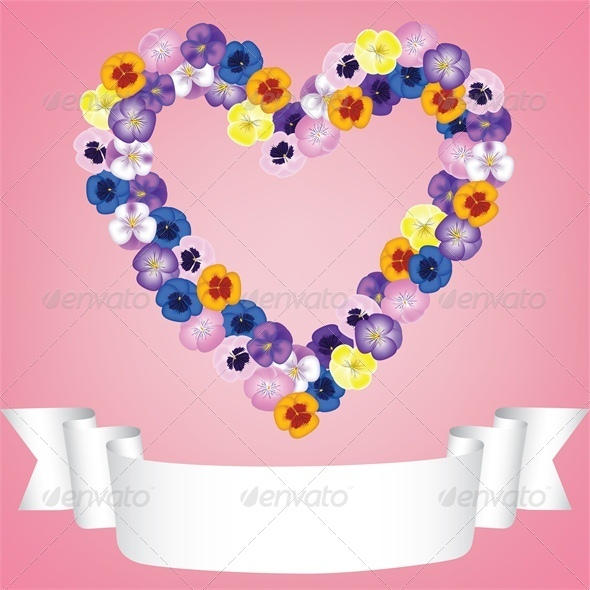 GraphicRiver Flower Heart and Ribbon 4024161