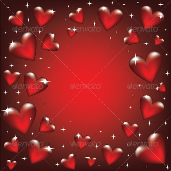 GraphicRiver Valentine card with glass heart frame 4024187