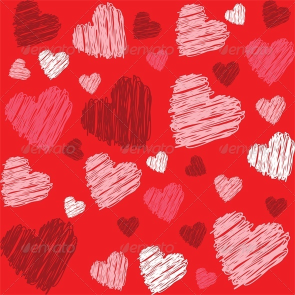 GraphicRiver Background with doodle hearts 4024189
