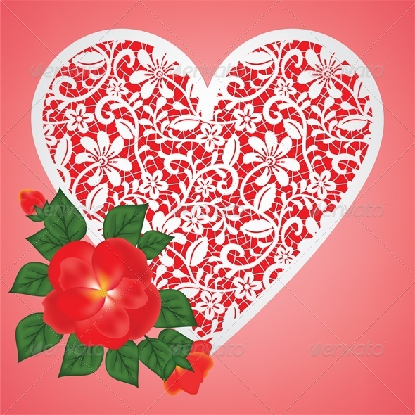 GraphicRiver Valentine Card with Rose and Lace Heart 4024292