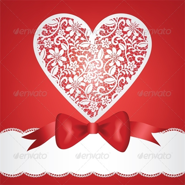GraphicRiver bow and lace heart 4024297