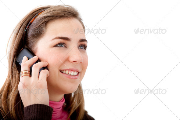 casual woman on the phone - Stock Photo - Images