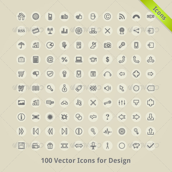 GraphicRiver Vector Icons for Design 3818654