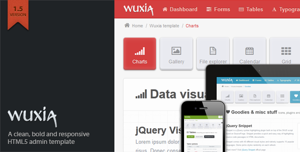 Wuxia Responsive Admin Template - The item page featured image.