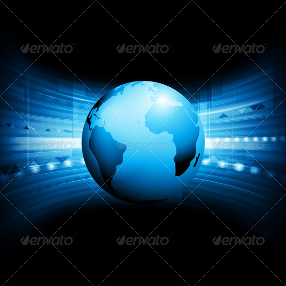 GraphicRiver Vector Technology Background with Globe 4026632