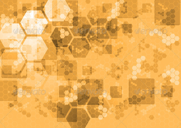 GraphicRiver Abstract Tech Background with Squares and Hexagons 4026683