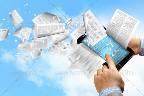 e book reader and books - Stock Photo - Images