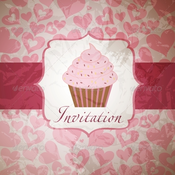 cupcake invitation background - Food Objects