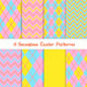 Easter Argyle Chevron Patterns with Coral Lines - GraphicRiver Item for Sale