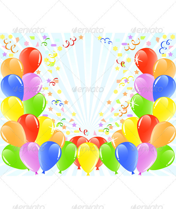 Balloons Background with Space for Text. - Birthdays Seasons/Holidays