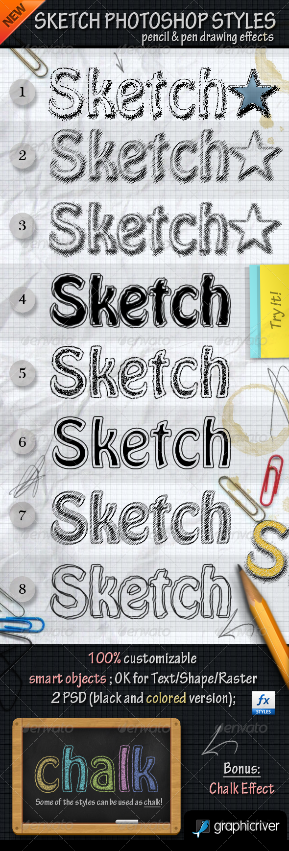 Sketch Photoshop Styles with PSD File - Text Effects Styles