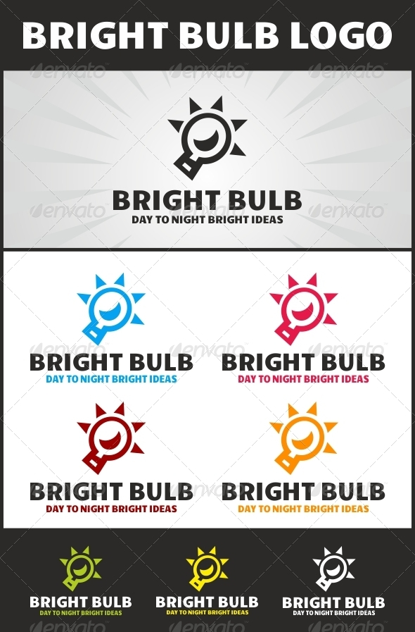 Bright Bulb Logo - Vector Abstract