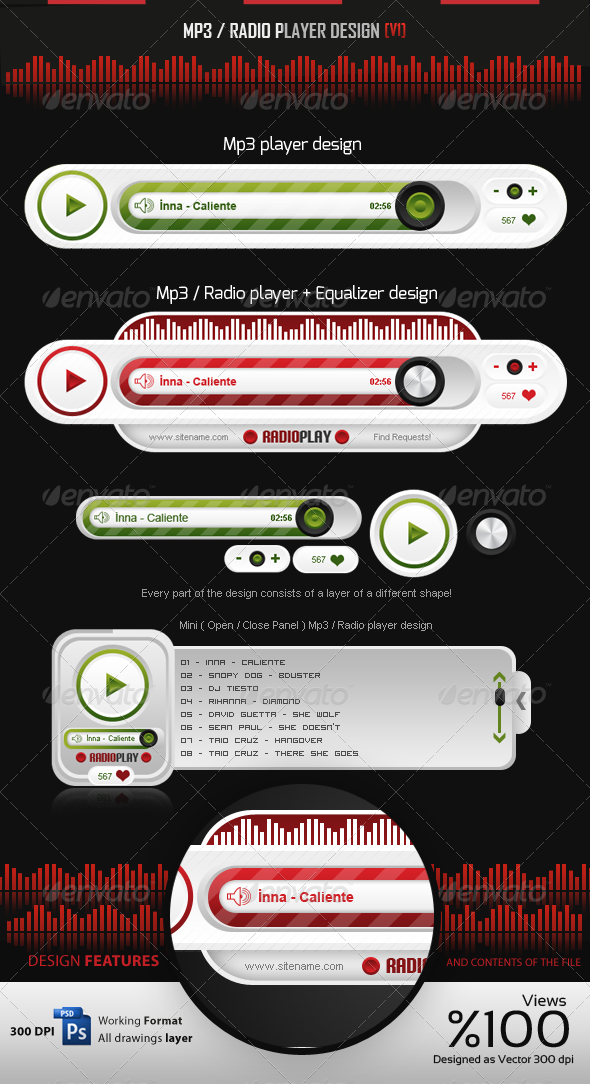 GraphicRiver MP3 Radio Player Design v1 4032027