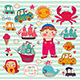 Vector Set of Cartoon Stickers: Boy and Toys - GraphicRiver Item for Sale