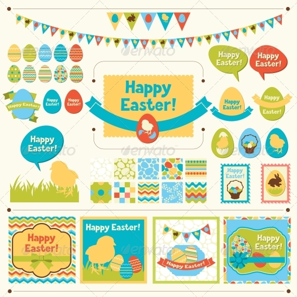 Set of Happy Easter Decorative Elements - Religion Conceptual