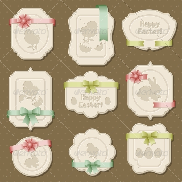 GraphicRiver Set of Easter Labels Tags with Bows and Ribbons 4033783