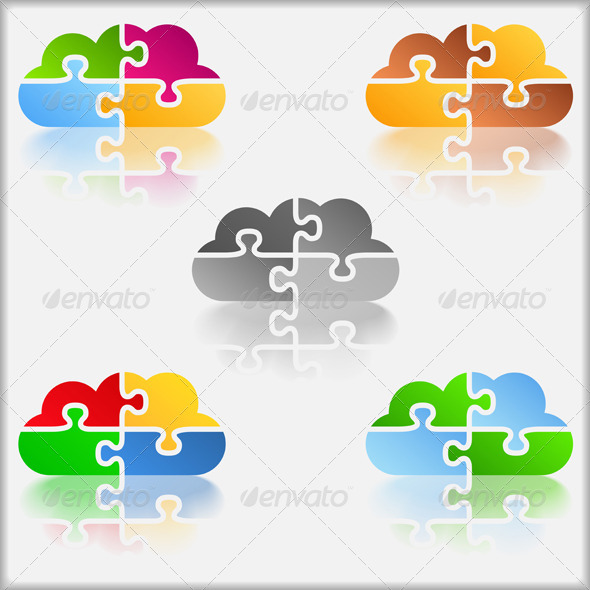 Puzzle Clouds - Web Elements Vectors