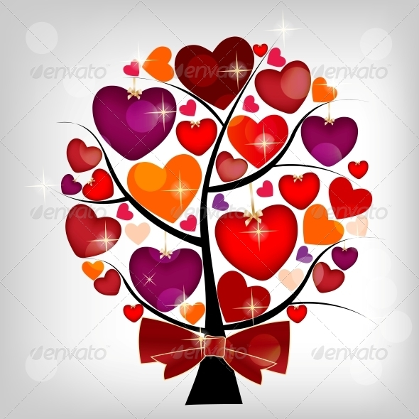 Valentines day card on the tree, vector illustrati - Miscellaneous Conceptual