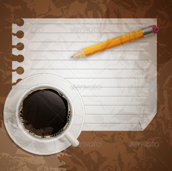 Blank book with coffee and photo frame vector illu - Food Objects